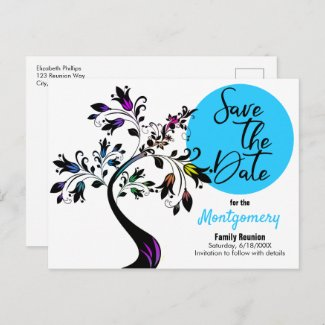 family, family reunion, save the date, modern, template, post card,