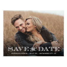 Save the Date Modern Typography Photo Wedding Postcard