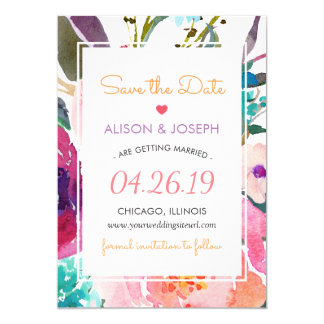 Save the Date | Modern Watercolor Garden Floral Card