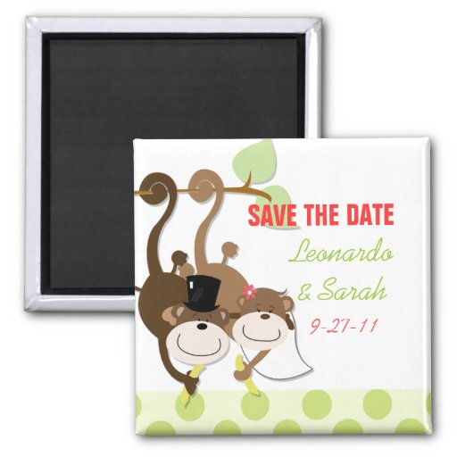 Save the Date Monkey Wedding Couple Magnet Favor