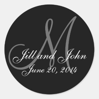 Save the Date Monogram Black & White Wedding Label Round Sticker