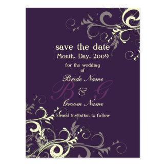 Save the Date, monogram cream swirls/DIY color! Postcard