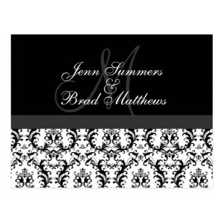 Save the Date Monogram Damask Announcement Postcard