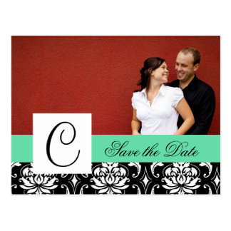 Save the Date Monogram Damask Wedding Cards