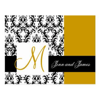 Save the Date Monogram Damask Wedding Gold Postcard