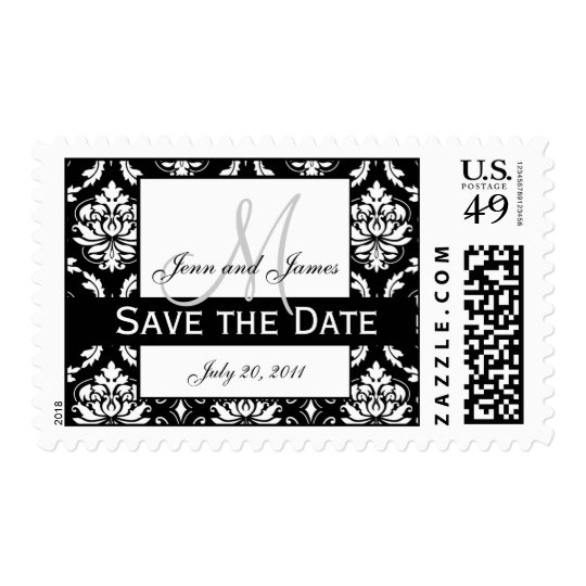 Save the Date Monogram Damask Wedding Stamp