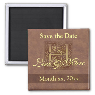 Save the Date Monogram H 2 Inch Square Magnet