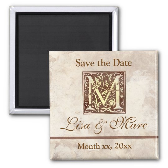 Save the Date Monogram M Magnet