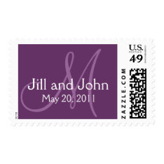 Save The Date Monogram Purple Wedding Postage at Zazzle