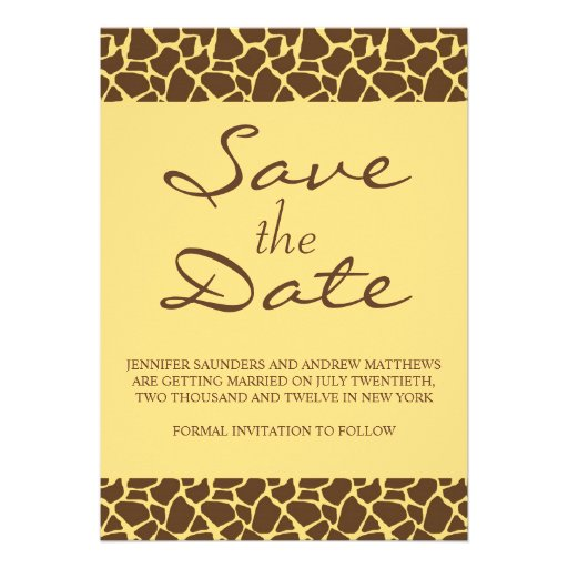 Save The Date Monogram Safari Wedding Invitation 5 X 7 Invitation