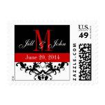 Save the Date Monogram Swirls Wedding Postage Red