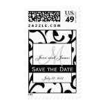 Save the Date Monogram Swirls Wedding Stamp