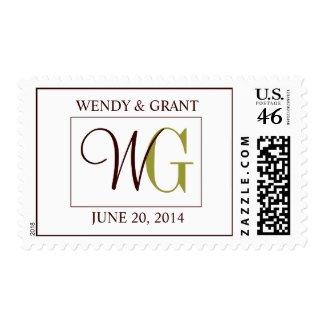 Save the Date Monogram Wedding Logo Postage stamp
