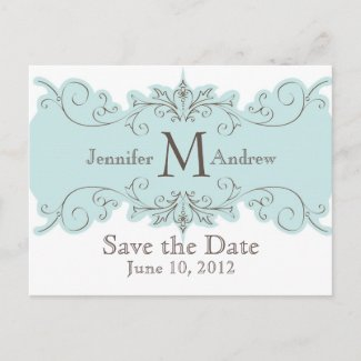 Save the Date Monogram Wedding Tiffany Swirls Card postcard