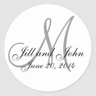 Save the Date Monogram White & Black Wedding Label Sticker