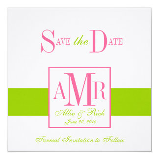 Save the Date Monograms for Weddings Green Pink Card