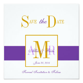 Save the Date Monograms for Weddings Purple Gold Card