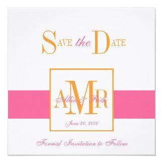 Save the Date Monograms Weddings Pink Orange Card