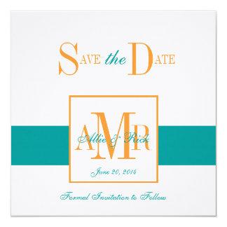 Save the Date Monograms Weddings Turquoise Orange Card