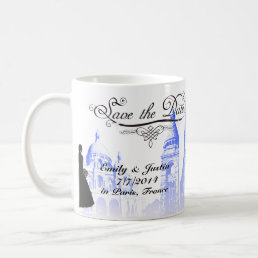 SAVE THE DATE MUG WITH VIEW OF PARIS, FRANCE