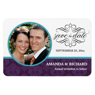 Save the Date - Mulberry Wine Damask Photo Magnets