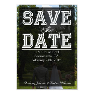 Save The Date - Multiple Typefaces On Black Card