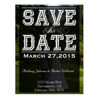Save The Date - Multiple Typefaces On Black Postcard