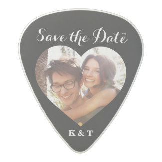 Miscellaneous Guitar Picks - Save The Date Music Photo Heart Frame Custom Acetal Guitar Pick