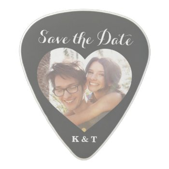 Save The Date Music Photo Heart Frame Custom Acetal Guitar Pick by INAVstudio at Zazzle