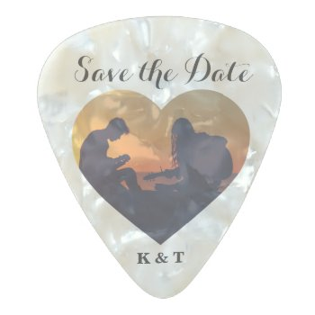 Save The Date Music Photo Heart Frame Custom Pearl Celluloid Guitar Pick by INAVstudio at Zazzle