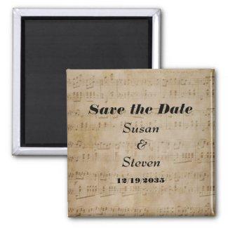 Save the Date Music Theme Fridge Magnet
