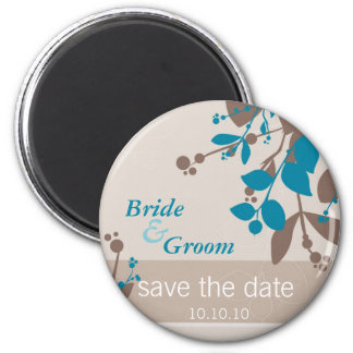 SAVE THE DATE :: nature - latte mocha teal Magnet
