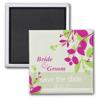 SAVE THE DATE :: nature - olive lime fuschia magnet