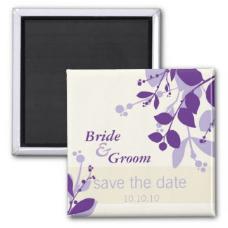 SAVE THE DATE :: nature - vanilla lilac purple 2 Inch Square Magnet