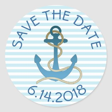 Beach Themed Save the Date Nautical Anchor Blue White Stickers