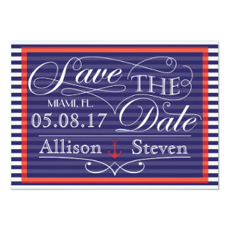 Save the date nautical design card