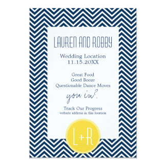 Save the Date Navy Blue and Yellow Chevrons Card