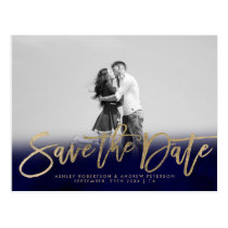 Save the Date navy blue gold faux gold photo Postcard