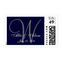 Save the Date Navy Blue Gray Monogram Names Postage