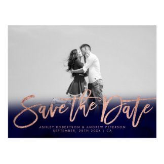 Save the Date navy blue rose gold photo Postcard