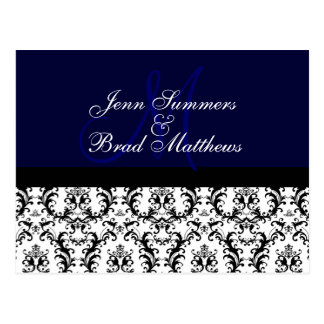 Save the Date Navy Monogram Damask Card