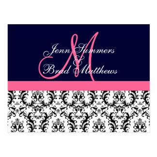 Save the Date Navy Pink Monogram Damask Card Post Card