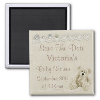 Save the Date Neutral Teddy Bear Baby Shower Magnet
