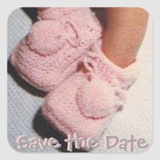 Save the Date/New Baby Square Sticker