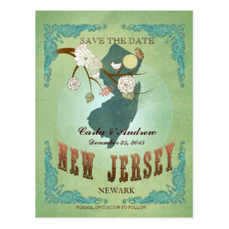 Save The Date - New Jersey Map With Lovely Birds Postcard
