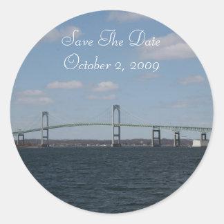Save the date, NEWPORT, RI Round Stickers