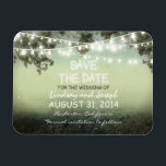 "save the date night lights rustic MAGNET<br><div class=""desc"">rustic save the date magnet with string of lights on the tree branches.</div>"