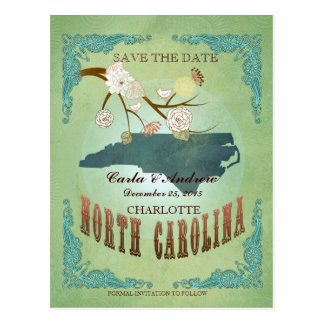 Save The Date- North Carolina Map With Lovely Bird Postcard
