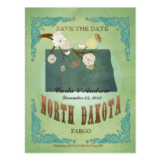 Save The Date- North Dakota Map With Lovely Birds Postcard
