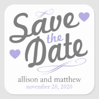 Save The Date Old Fashioned Labels (Gray / Purple)